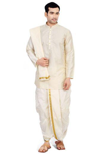 woven-art-silk-dhoti-with-kurta-in-cream-v1-mxt163